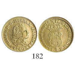 Madrid, Spain, bust 1 escudo, Philip V, 1740JF, encapsulated NGC VF 30.