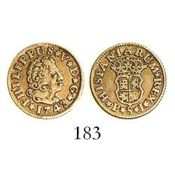 Seville, Spain, bust 1/2 escudo, Philip V, 1743/3PJ.