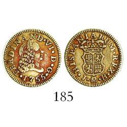 Madrid, Spain, bust 1/2 escudo, Ferdinand VI, 1755JB.