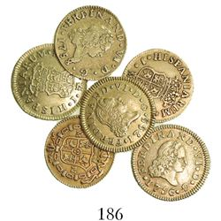 Lot of 6 Madrid, Spain, bust 1/2 escudos, Ferdinand VI and Charles III, various dates (all different