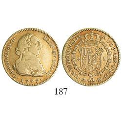 Madrid, Spain, bust 2 escudos, Charles III, 1777PJ.