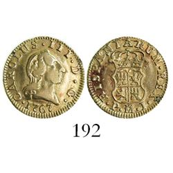 Madrid, Spain, bust 1/2 escudo, Charles III (young bust), 1767PJ.