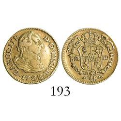 Madrid, Spain, bust 1/2 escudo, Charles III, 1783/74JD/PJ, rare.