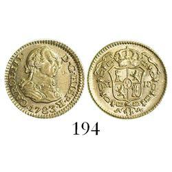 Madrid, Spain, bust 1/2 escudo, Charles III, 1783JD.