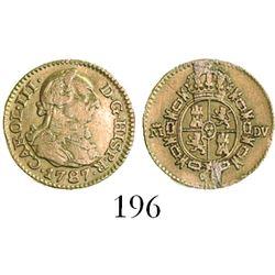 Madrid, Spain, bust 1/2 escudo, Charles III, 1787DV.