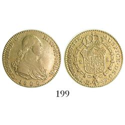 Madrid, Spain, bust 2 escudos, Charles IV, 1800/1790MF, rare (unlisted).