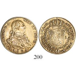 Madrid, Spain, bust 2 escudos, Charles IV, 1801FM, contemporary counterfeit struck in gilt platinum,