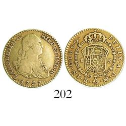 Madrid, Spain, bust 1 escudo, Charles IV, 1797MF.