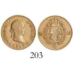 Madrid, Spain, bust 1/2 escudo, Ferdinand VII, 1817GJ.