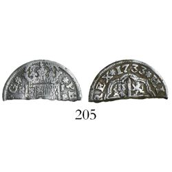 "U.S. colonial, silver ""bit,"" a half-cut of a Spanish milled 1 real ""half pistareen,"" Seville mint, 1"