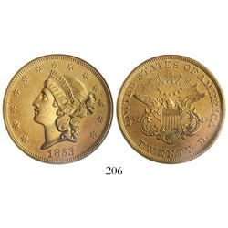 USA New Orleans mint), $20 coronet Liberty, 1853, encapsulated ANACS sea salvaged / net EF 40, from