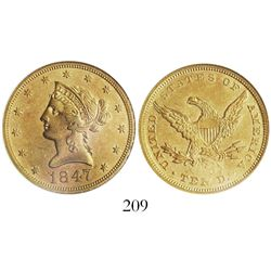 USA New Orleans mint), $10 coronet Liberty, 1847-O, encapsulated ANACS sea salvaged / net EF 40, fro