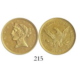 USA (Philadelphia mint), $5 coronet Liberty, 1852, encapsulated ANACS UNC details / net AU 50 / sea