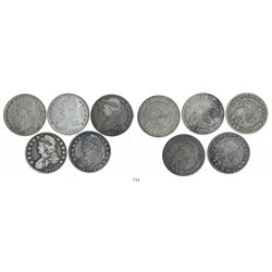 Lot of 5 USA (Philadelphia mint) half dollars Capped Bust, dated 1826 (2), 1827, 1829 and 1831.