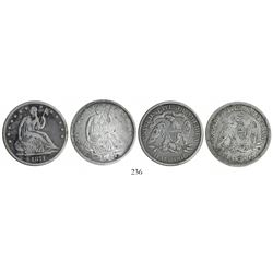 Lot of 2 USA (New Orleans and Philadelphia mints) half dollars Seated Liberty, 1847-O and 1871.
