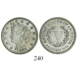 "USA (Philadelphia mint), copper-nickel ""V"" nickel, 1883, first type without ""CENTS."""