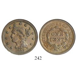 USA (Philadelphia mint), copper large cent, 1857, large date, key date, encapsulated NGC XF 45 BN.