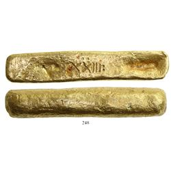 Complete gold  finger  bar #1526, 699 grams, marked with fineness XXIII: (23.5K) and serial number 1