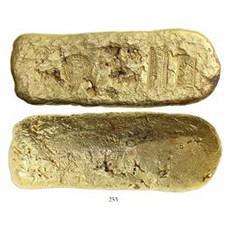 Large Colombian gold bar, 1626 grams, marked with fineness XXII (22K), foundry/assayer BARBAROSA and