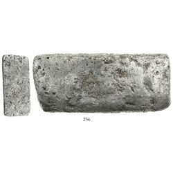 "Silver ""tumbaga"" bar #M-38, 5 lb 2-1/2 oz av., marked with partial fineness and assayer B~Vo, from t"