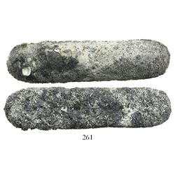 Small, contraband silver bar, 679 grams, from the Maravillas (1656), encrusted.