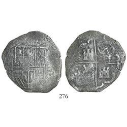 Toledo, Spain, cob 8 reales, Philip III, assayer C below mintmark oT to left.