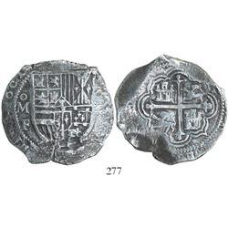 Mexico City, Mexico, cob 8 reales, 1607F (possibly date over GRATIA), rare, Grade 1.