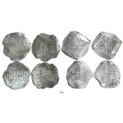 Lot of 4 Mexico City, Mexico, cob 8 reales, Philip III, assayers F and D (where visible), Grades 1 (