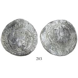 Lima, Peru, cob 4 reales, Philip II, assayer Diego de la Torre, P-4 to left, *-oD to right, Grade 2.