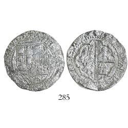 Lima, Peru, cob 2 reales, Philip II, assayer Diego de la Torre, *-(ii) to left, P-oD to right, Grade