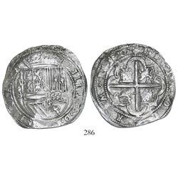 Potosi, Bolivia, cob 8 reales, Philip II, assayer B (1st period,  Lima style ), Grade 1, rare.