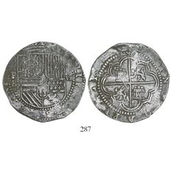 Potosi, Bolivia, cob 8 reales, Philip II, assayer B (3rd period), Grade 1.