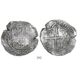 Potosi, Bolivia, cob 8 reales, (1)617M, Grade 1.