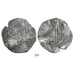 Potosi, Bolivia, cob 8 reales, 1617(M), Grade 3.