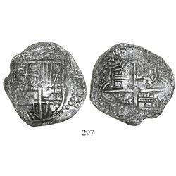 Potosi, Bolivia, cob 8 reales, 1618(T), Grade 1.