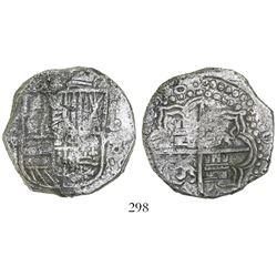 Potosi, Bolivia, cob 8 reales, (16)18(T), Grade 2, rare low serial number.