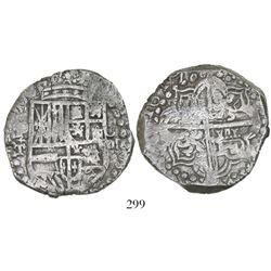 Potosi, Bolivia, cob 8 reales, 1619T, upper half of shield transposed, Grade 1.