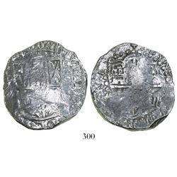 Potosi, Bolivia, cob 8 reales, 1(61)9(T), Grade 1.