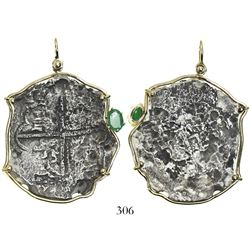 Potosi, Bolivia, cob 8 reales, Philip III, assayer not visible, Grade 4, mounted in gold-wire bezel