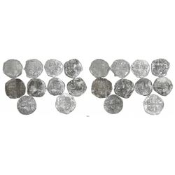 Lot of 10 Potosi, Bolivia, cob 8 reales, Philip II and/or III, various assayers (where visible), all