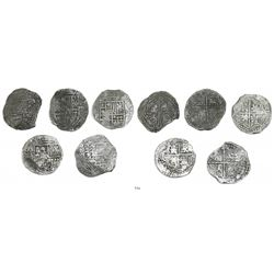 Lot of 5 Potosi, Bolivia, cob 8 reales, Philip II and/or III, various assayers (where visible), all