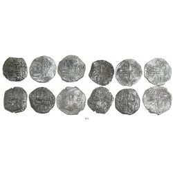 Lot of 6 Potosi, Bolivia, cob 8 reales, Philip II and/or III, various assayers (where visible), all