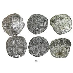 Lot of 3 Potosi, Bolivia, cob 8 reales, Philip III, assayers not visible, all Grade 3, with tags but