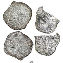 Lot of 2 Potosi, Bolivia, cob 8 reales, Philip III, assayers not visible, Grades 3 and 4.