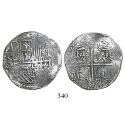 Potosi, Bolivia, cob 4 reales, Philip III, assayer Q/R (rare), Grade-1 quality but no Grade on certi