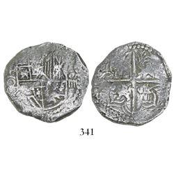 Potosi, Bolivia, cob 4 reales, Philip III, assayer Q, Grade 2.