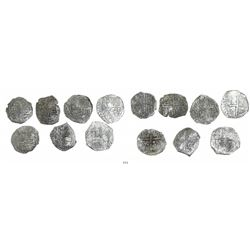 Lot of 7 Potosi, Bolivia, cob 4 reales, Philip II and/or III, various assayers (where visible), all