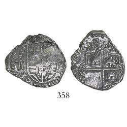 Potosi, Bolivia, cob 2 reales, 1618T/PAL, Grade 3, very rare.