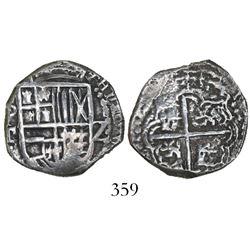 Potosi, Bolivia, cob 2 reales, Philip III, assayer T, Grade 1.