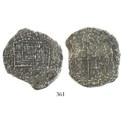 "Cartagena, Colombia, cob 8 reales, Philip IV, assayer (A) to right, mintmark RN to left (1621-2), ""8"